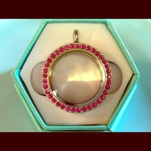 Origami Owl Large Silver Locket w Pink Crystals